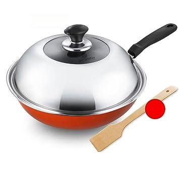 XiongDaDa Woks y sartenes salteados,Sartén Antiadherente sartén Reducir los Gases Utensilios de Cocina Multifuncional 32cm-E: Amazon.es: Hogar