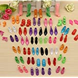 HiDven 40 Pairs Different High Heel Shoes Boots Accessories For Barbie Doll
