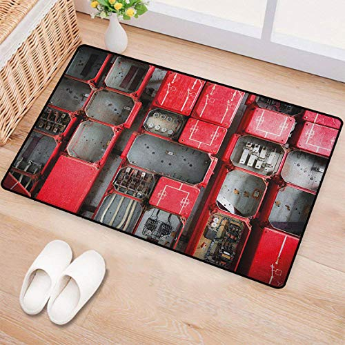 Cable Chevelle - Industrial,Bath Mats for Floors,Fuse Cabinet Close Up Photo Industrial Type Junction Cables Box Electricity,Door Mat Indoors Bathroom Mats Non Slip,Red White Grey,Size:24