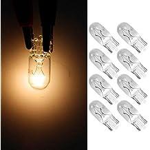 Partsam 8pcs T10 W5W 12V 5W wedges Yellow Car light Source Exterior Side Marker lights Halogen Lamp