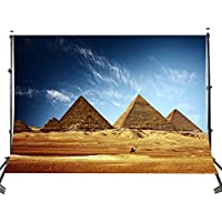 Lyly County Egyptian Backdrop 7x5ft Desert Blue Sky Pyramids Photo Background Studio Photography Props(Upgrade material) LY025