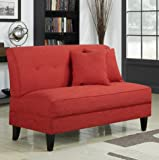 Portfolio Engle Sunset Red Linen Armless Loveseat Settee Modern Sofa For Sale