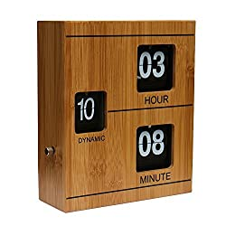 WoneNice Bamboo Retro Flip Down Clock - Internal Gear Operated Clock for Office, Bedroom, Kitchen, Hotel, Table, Desk