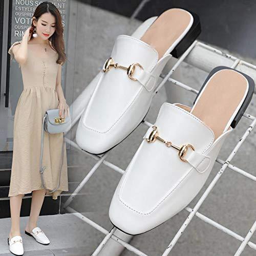 Sandalias Mujer White Medio Parte Zapatos Perezoso Muller Gorra Dedo Zapatilla De Inferior Plana Zapatillas UR4Pxfq4Aw