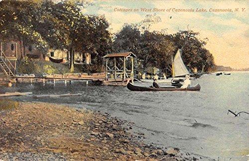 (Cazenovia New York Lake Cottages Waterfront Antique Postcard K63716)