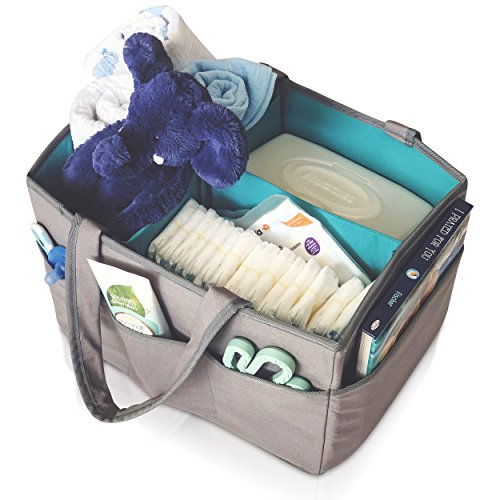 Large Diaper Caddy Organizer - Portable Nursery Storage Bin Changing Table for Diapers and Baby Essentials - Baby Shower Gift for Boy or Girl