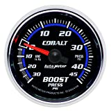 "Auto Meter 6108 Cobalt 2-1/16"" 30 in. Hg/45 PSI Mechanical Vacuum/Boost Gauge"