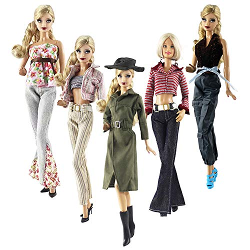 - Lance Home Doll Clothes, 5 Sets Fashion Outfits Autumn Dresses Fall Clothes Windbreaker Pants Shoes Bag Hat for Barbie Accessories Baby Gifts Random Style