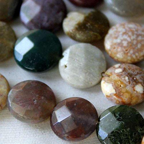 Ocean Jasper Beads 10mm Faceted Coin - 8 Inch