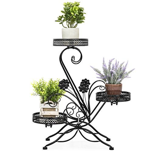 (Best Choice Products 3-Tier Freestanding Decorative Metal Plant and Flower Pot Stand Rack Display for Patio, Garden, Balcony, Porch w/Scrollwork Design)