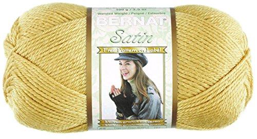 (Bernat Satin Solid Yarn (4) Medium Worsted Gauge 100% Acrylic - 3.5oz -     Camel   -  Machine Wash & Dry)