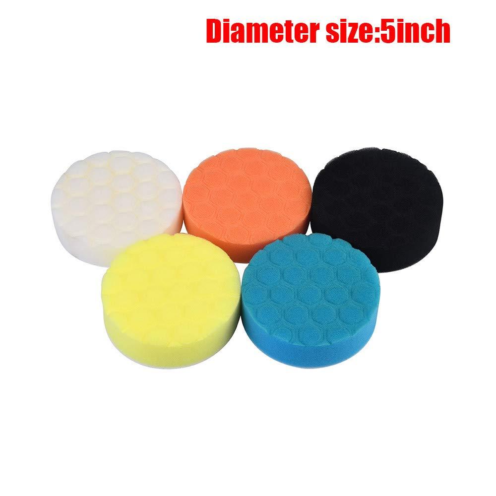 Quaanti 5PCS 3/4/5/6/7 Inch Car Sponge Polishing Pad Colorful Waxing Buffing Pads for Car Polisher New Arrival 2018 (C/5 Inch)