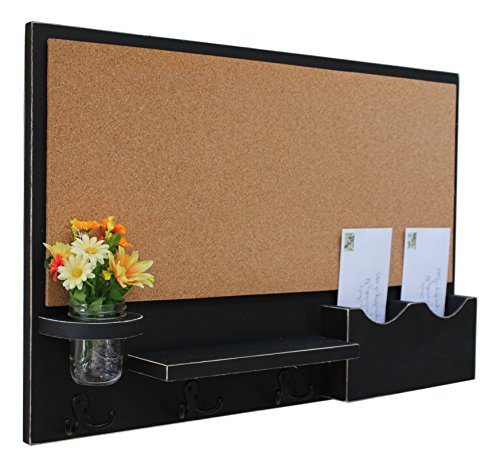 Legacy Studio Décor Cork Board Mail & Letter Holder with Key Hooks (Distressed, Black) by Legacy Studio Decor
