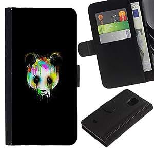 KLONGSHOP // Tirón de la caja Cartera de cuero con ranuras para tarjetas - Psychedelic Panda Graffity - Samsung Galaxy S5 Mini, SM-G800 //