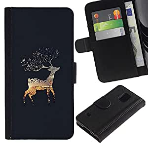 All Phone Most Case / Oferta Especial Cáscara Funda de cuero Monedero Cubierta de proteccion Caso / Wallet Case for Samsung Galaxy S5 V SM-G900 // Grey Lapland Nature Alaska Fall