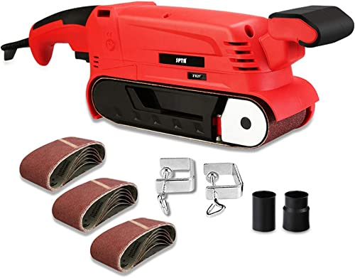 SPTA Belt Sander 900W, 3 21-Inch Bench Sander with Variable Speed 240 to 400RPM 18pcs Mixed Grit Sanding Belts, Fixed Screw Clamp, Fixed Screw Clamps, Dust Box, Suit for Sanding and Grinding