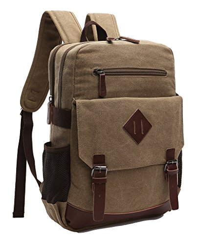 Canvas Khakis - ZUOLUNDUO Vintage Canvas College School Bag Laptop Bag Backpack M8675SJ,Khaki