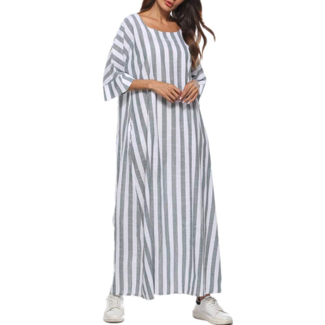 Women Dress,Dainzuy Striped Print Three Quarter Sleeve Loose Cocoon Maxi Dress