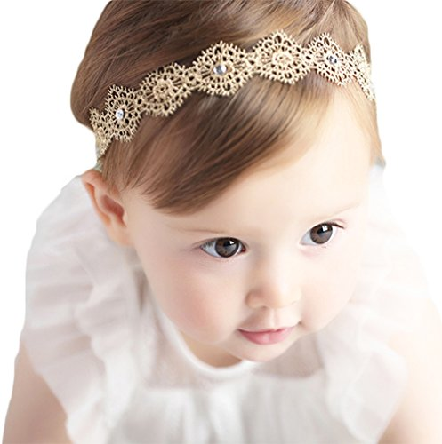 (Baby Girl Super Elastic Headband Big Lace Petals Flower Baby Hair Band Toddler Soft Headwrap Set Hair Accessories)