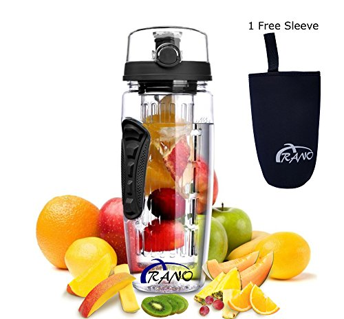 - Arano 32 OZ BPA-Free Fruit Infuser Water Bottle, shatter and chemical-resistant Tritan with button flip-top and long infuser for daily hydration Gym Sports Camping uses, Water flavoring - Black
