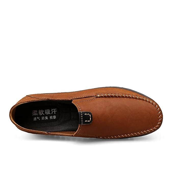 Amazon.com | SK Studio Mens Leather Casual Slip-On Loafer Slipper | Loafers & Slip-Ons