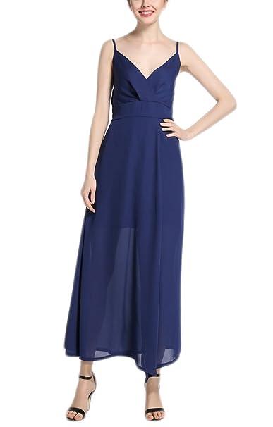 Vestidos De Fiesta Largos De Noche Verano Elegantes Gasa Azules Vestidos Coctel Escotados V Cuello Tirantes