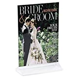 Clear-Ad - LHB-57 - Double Sided Acrylic Upright Sign Holder 5x7 - Table Menu Card Display Stand - Plastic Picture Frame Wholesale (Pack of 100)