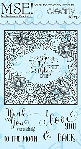 MSE! Y602 My Sentiments Exactly! Quick Coloring Frame Clear Stamp Set, 6