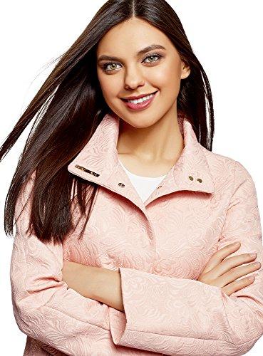 Texturizado 5400n oodji Rosa Abrigo Recto Mujer de Tejido Ultra FwSqCOU