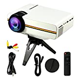 1200 lumens Mini LED Projector Multimedia Home Cinema Support PC Laptop Smartphone Xbox Portable for Home Cinema Theater Entertainment and Games, Perfect Gift for Your Family(White)