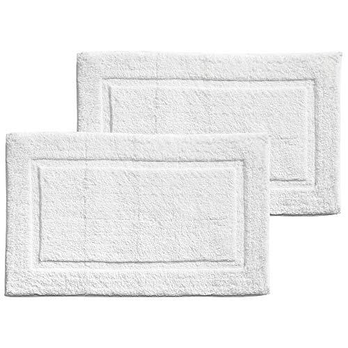 mDesign Soft 100% Cotton Luxury Hotel-Style Rectangular Spa Mat Rug, Plush Water Absorbent, Decorative Border - for Bathroom Vanity, Bathtub/Shower - Machine Washable - 2 Pack - White