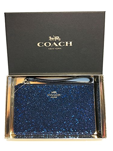 Coach Boxed Star Glitter Corner Zip Wristlet (SV/Blue) by Coach