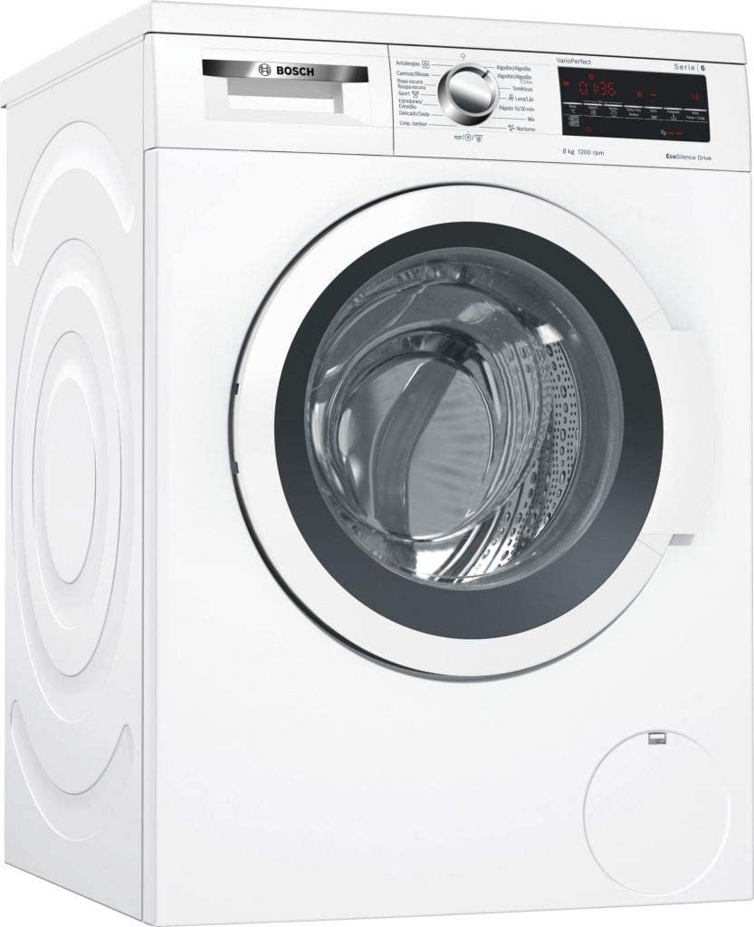 Bosch Serie 6 WUQ24468ES Independiente Carga frontal 8kg 1200RPM A+++ Blanco - Lavadora (Independiente, Carga frontal, Blanco, Izquierda, LED, 58 L)