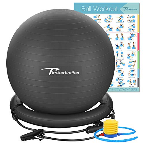 Timberbrother Anti-Burst Exercise Ball/Stability Ball 65cm Diameter with Resistance Bands & Pump for Yoga, Pilates, Fitness, Physical Therapy, Gym and Home Exercise (Black with Ring & Bands)