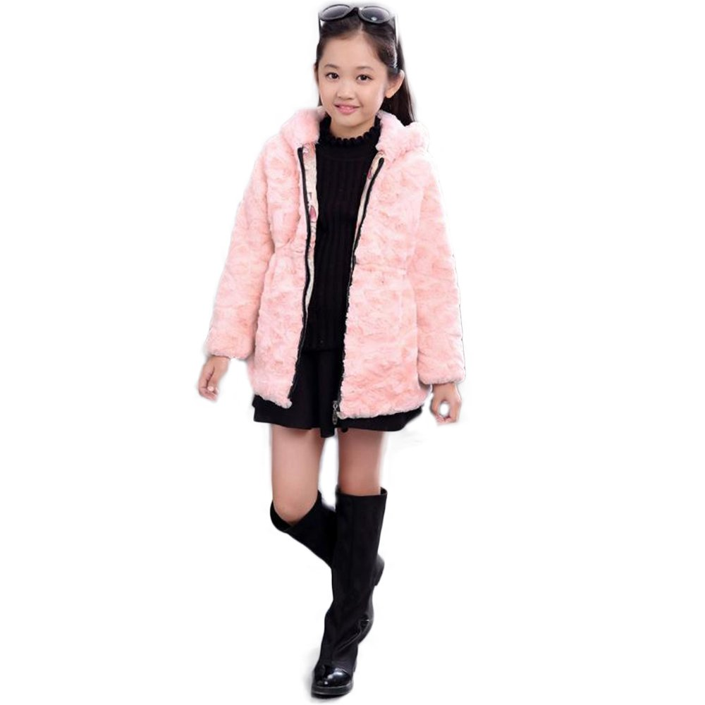 Manka Vesa Girls Big Kids Short Faux Rabbit Fur Coat Front Zipper Up Hooded Jacket Peacoat Pink