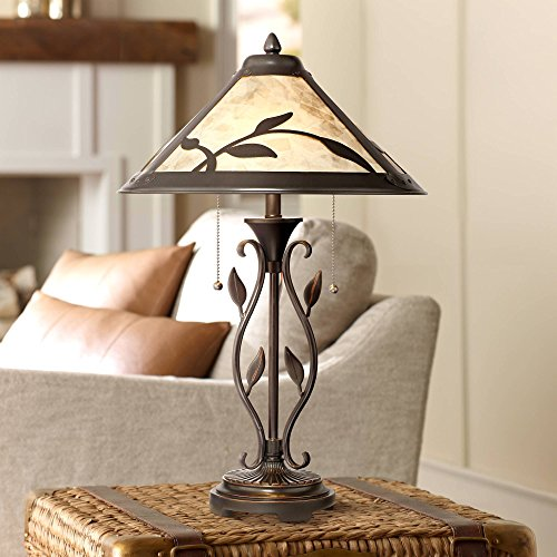 Feuille Rustic Table Lamp Metal Openwork Leaf Accents Mica Shade for Living Room Family Bedroom Bedside Nightstand - Franklin Iron -