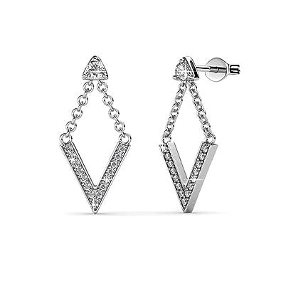 ba43b7e02fb24 Cate & Chloe Francesca Incredible White Gold Drop Earrings, 18k Gold Plated  V Shape with Swarovski Crystals, Stud Earring Set with Dangling V, Dangle  ...