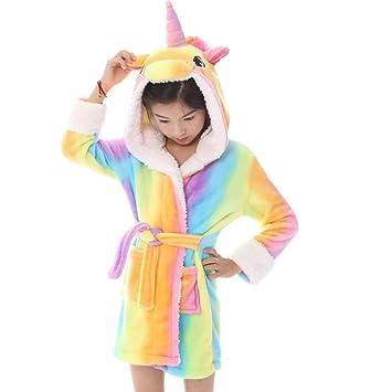 8ba900a2da64 Kids Hooded Bathrobe Pajamas Soft Plush Comfortable Sleepwear Loungewear  Cute Cartoon Pattern Nightgown for Bathroom Bedroom