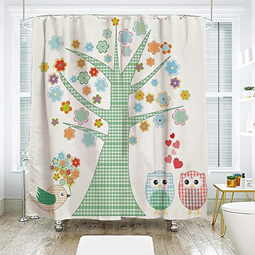 scocici DIY Bathroom Curtain Personality Privacy Convenience,Nursery,Romantic Owls in Love and Big Tree with Colorful Blossoms Bird Bouquet Decorative,Mint Green Multicolor,70.8