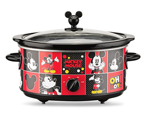 Disney DCM-502 Mickey Mouse Oval Slow Cooker with 20-Ounce Dipper, 5-Quart, Red/Black by Disney (Image #1)