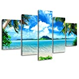 Beach Pictures Wall Art for Living Room, SZ 5 Piece Seascape Canvas Prints of Tropical Palm Tree and Caribbean Island Sandy Seaside (Dark Blue, Bracket Fixed, 1'' Deep Premium Frame, Waterproof)