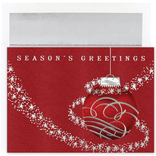 Masterpiece Studios Stationery (Masterpiece Studios Century Boxed Red Holiday Ornament Greetings, 16 Cards/Foil Lined Envelopes (M0390MB))
