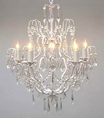 "White Wrought Iron Crystal Chandelier Chandeliers Lighting H27"" x W21"""