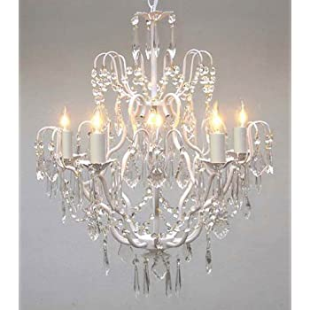 White wrought iron crystal chandelier chandeliers lighting h27 x mozeypictures Gallery