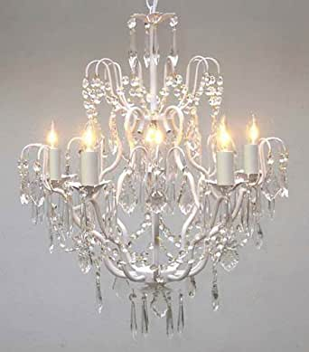 White Wrought Iron Crystal Chandelier Chandeliers Lighting H27 X W21 Chandelier For Girls