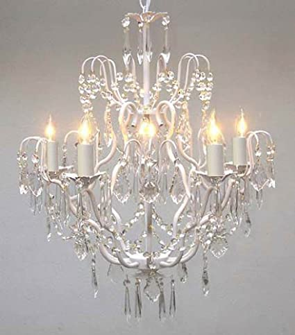 White Wrought Iron Crystal Chandelier Chandeliers Lighting H27 x W21 ...