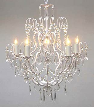 White wrought iron crystal chandelier chandeliers lighting h27 x white wrought iron crystal chandelier chandeliers lighting h27quot aloadofball Gallery