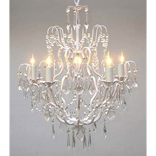 Shabby chic chandelier amazon white wrought iron crystal chandelier chandeliers lighting h27 x w21 aloadofball Images