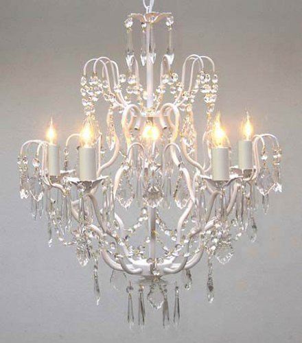 White Wrought Iron Crystal Chandelier Chandeliers Lighting H27