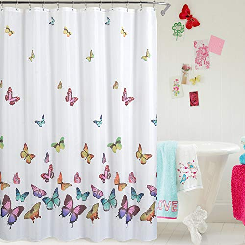 Jasion Shower Curtain Set Colorful Butterfly in Spring Waterproof Fabric Bathroom Curtains Home Bath Decor with 12 Hooks 72 X 72 Inches (Butterfly Curtains Shower)